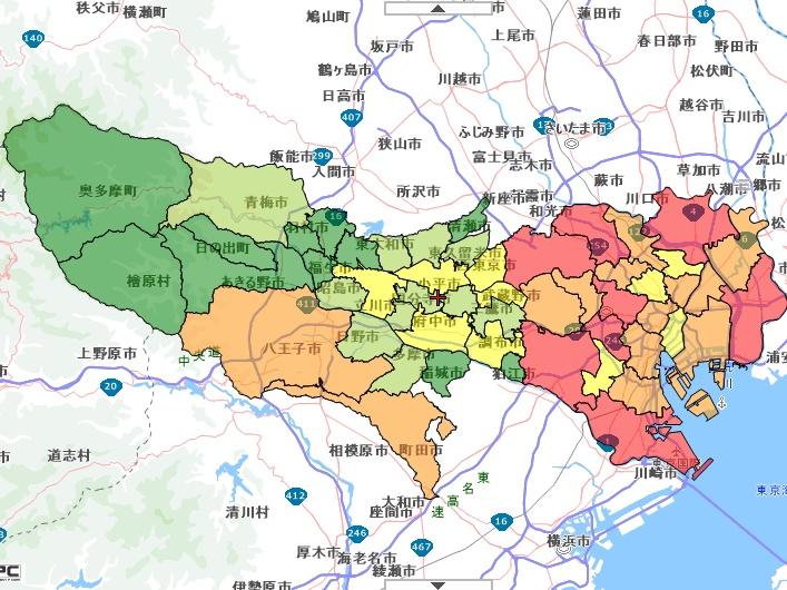 東京 区別犯罪発生数マップ