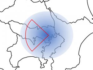 東京 同心円状の図 西側