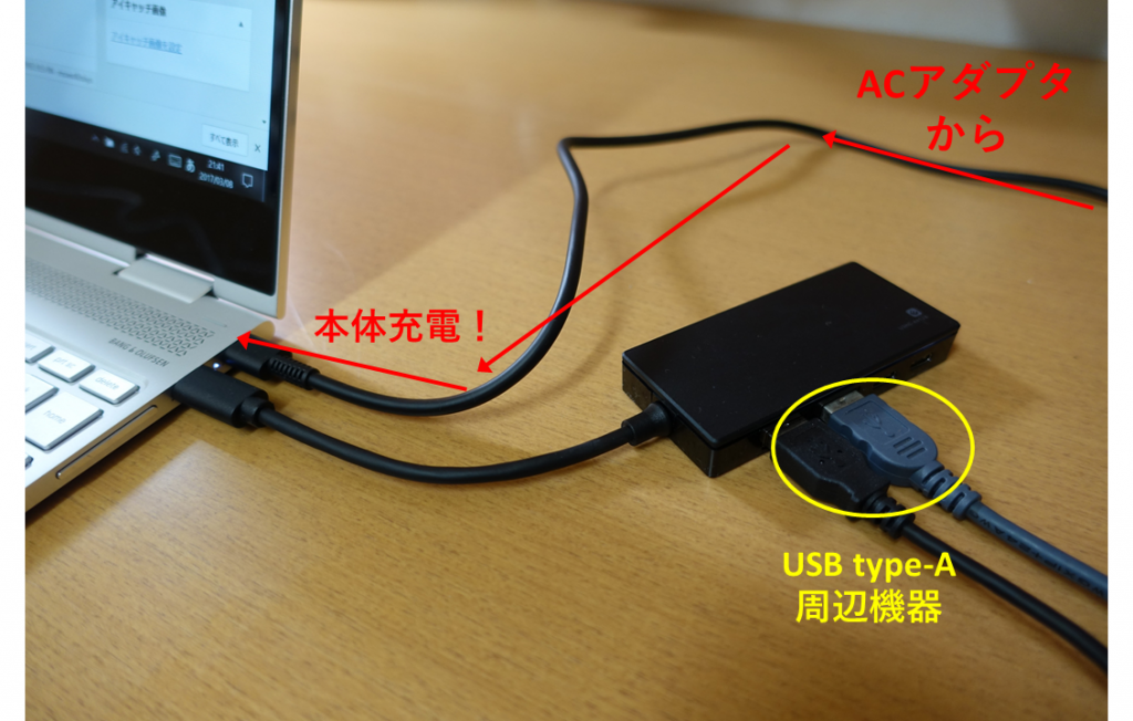 USB type-c ハブでの充電の実際
