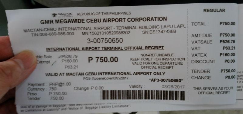 フィリピンセブマクタン空港利用料レシート