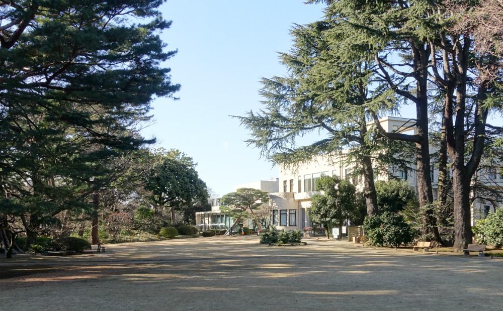 東京都庭園美術館 庭園奥から美術館を眺める