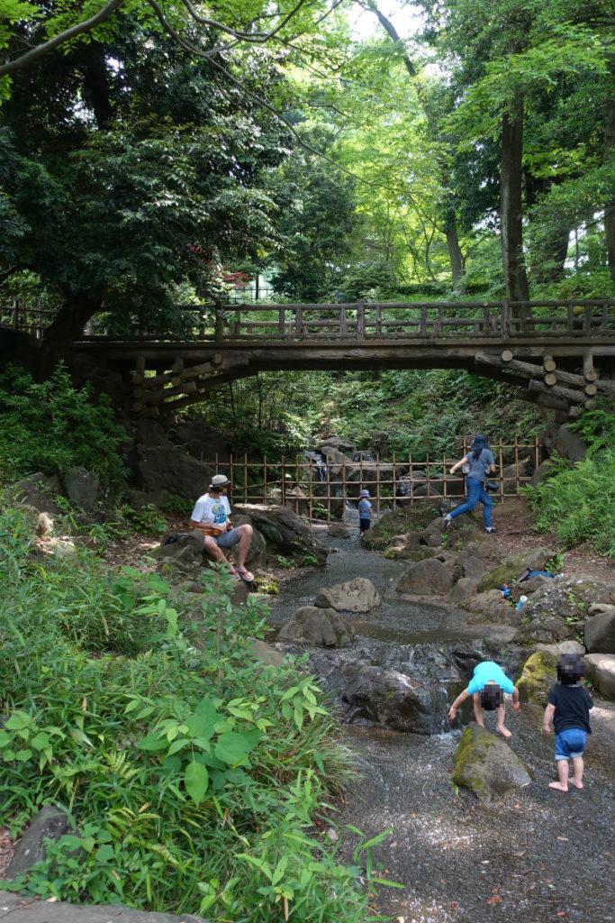 有栖川宮記念公園 南側の滝と流れ 裸足で遊ぶ人々