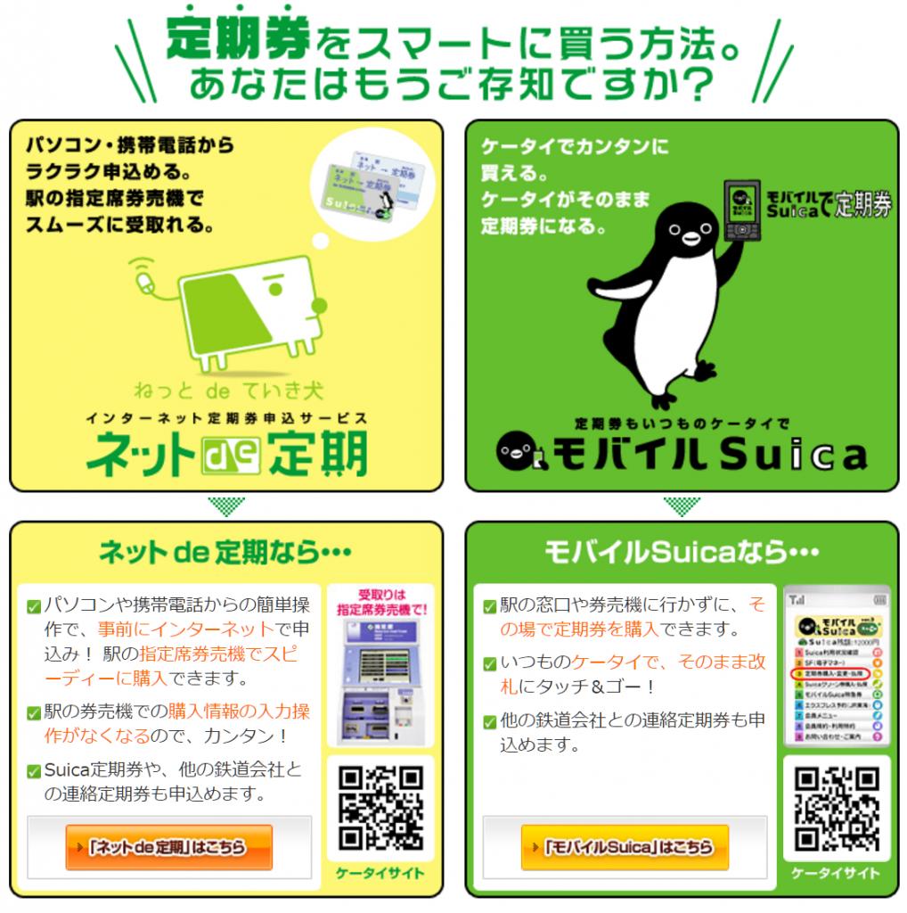 JR東定期の買い方 ネットで定期券とモバイルSuica