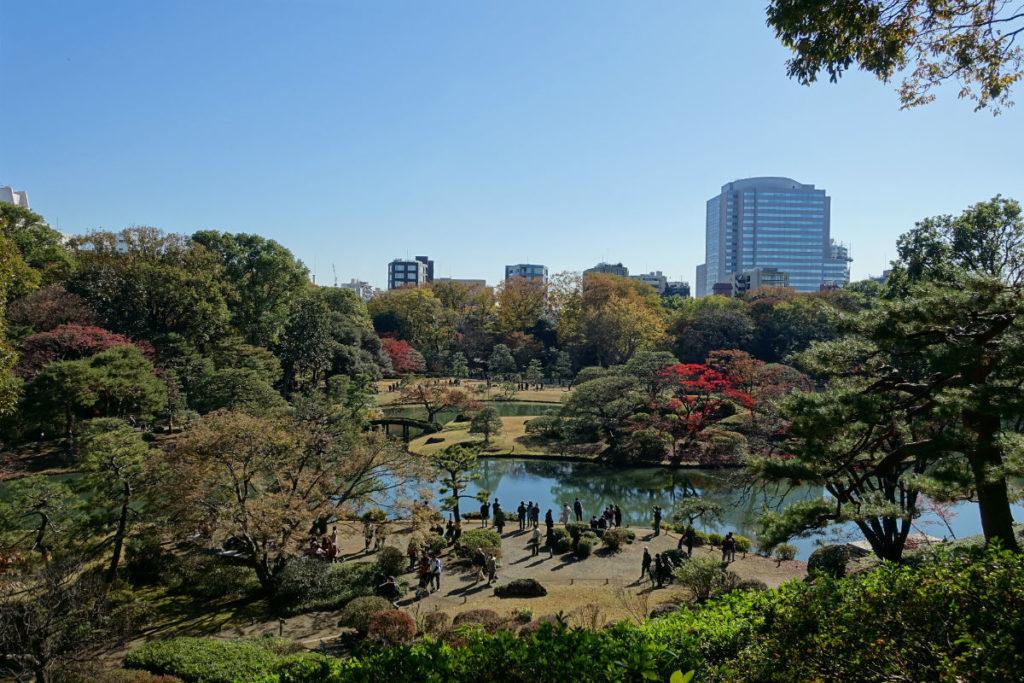 秋の紅葉 六義園 藤代峠から見下ろす