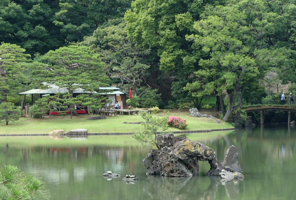 六義園 池の中の蓬莱島