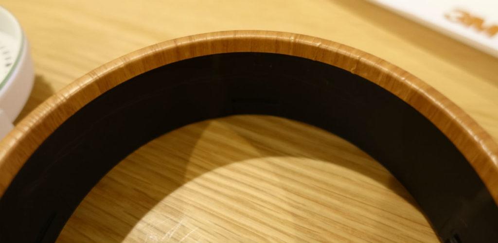 MUJIアナログクロック円柱形外枠にダイノックフィルム貼付 不完全だが