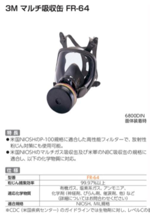 帝国繊維 3M製 MIL規格吸収缶 FR-64