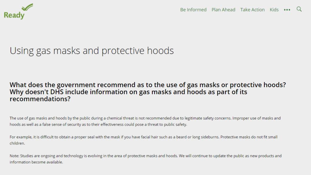 Ready gov ガスマスクを推奨しないとの一文