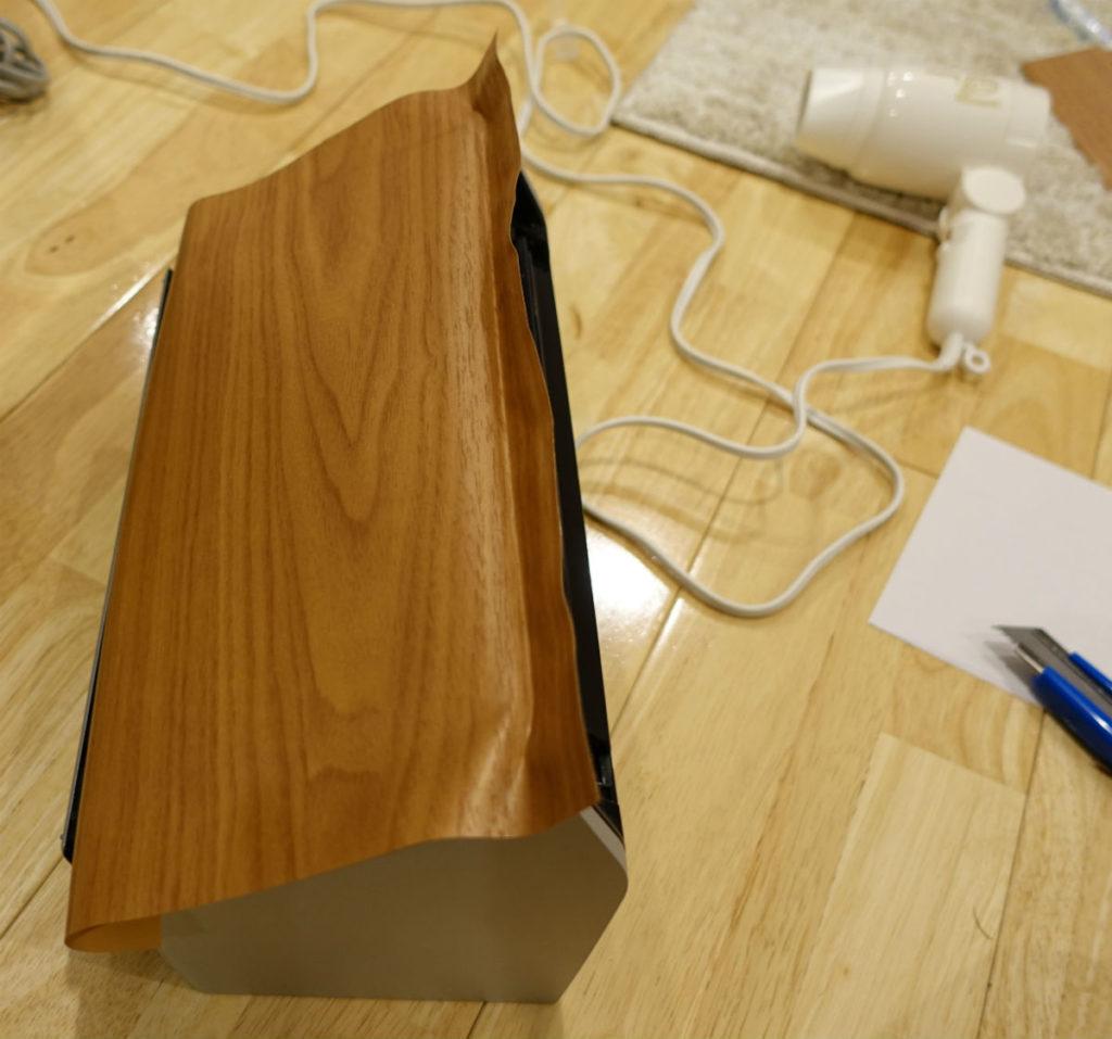 Scan Snap S1500 正面パネルにダイノックフィルム貼り付け ドライヤーで形成