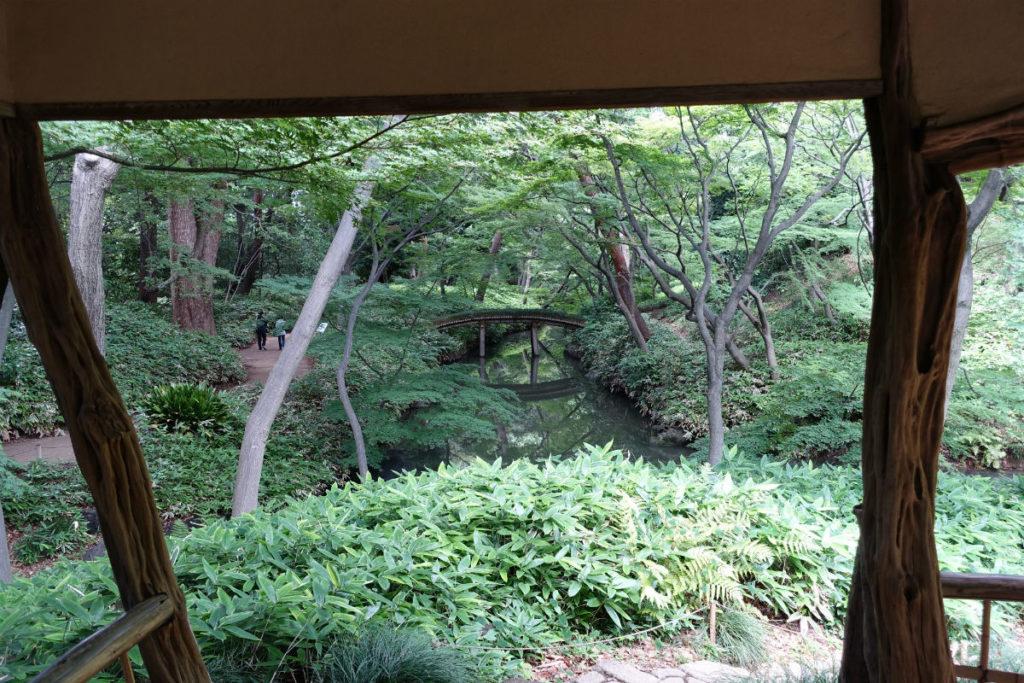 六義園 つつじ邸内部からの眺め