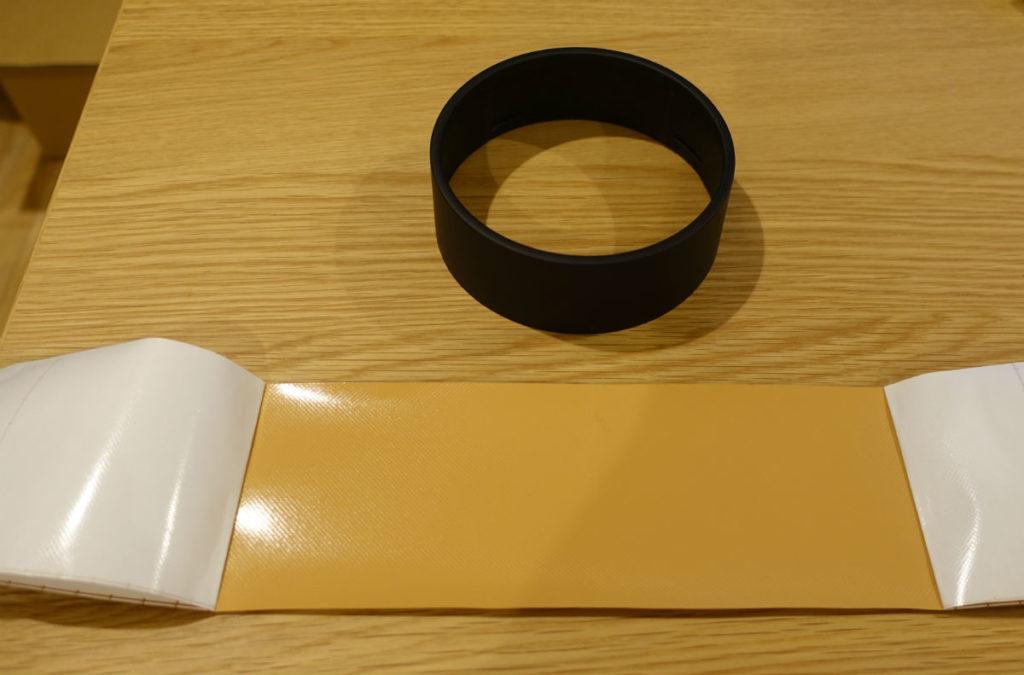 MUJIアナログクロック円柱形外枠とダイノックフィルム