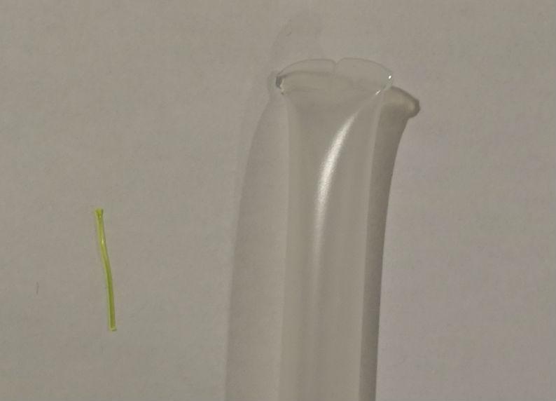 水質測定キット 残留塩素 試薬入りプラ容器 プラスチック糸を抜き取った後拡大