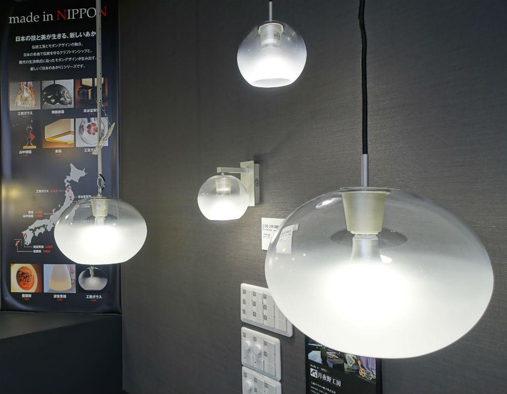 ODELIC東京ショールーム2F 老舗ガラス工房とのコラボペンダント