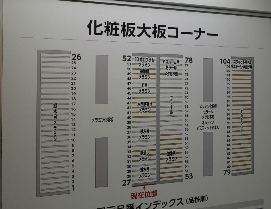 アイカ工業東京ショールーム入口 メラミン化粧版フロアマップ