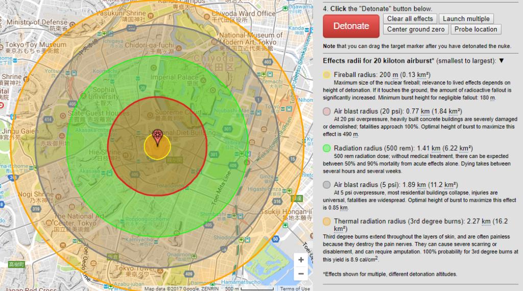 NUKEMAP 画面 国会20キロトン空中爆発