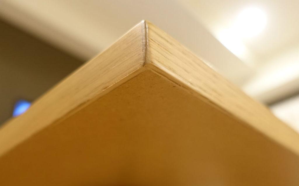 MUJIおりたたみテーブル オークの突板 角の処理 裏