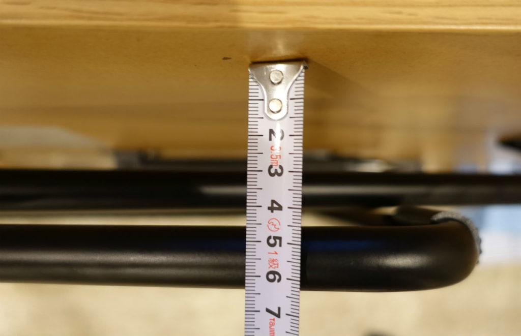 MUJIおりたたみテーブル 天板以外の部分 折りたたんだ際の厚み