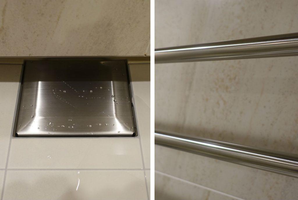 ステンレスシンクコーティング剤 浴室排水口とポールに塗布
