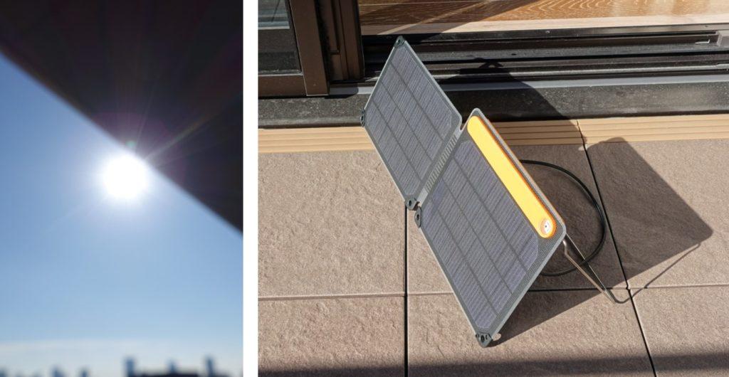 BioLite SolarPanel 10 plus 12月の晴天だが低い日射で発電