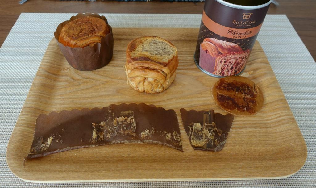 缶 de ボローニャ チョコレート味 包んでいる紙
