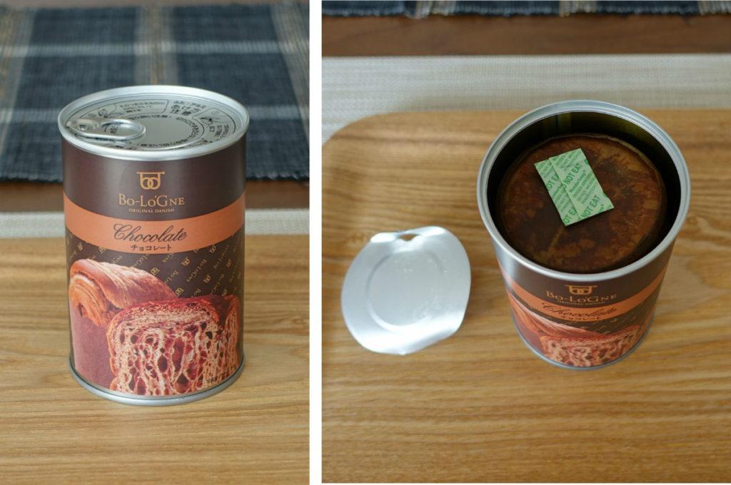 缶 de ボローニャ チョコレート味 開缶