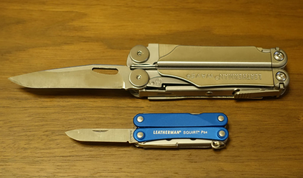 LEATHERMAN SQUIRT PS4とWAVE ナイフ時比較