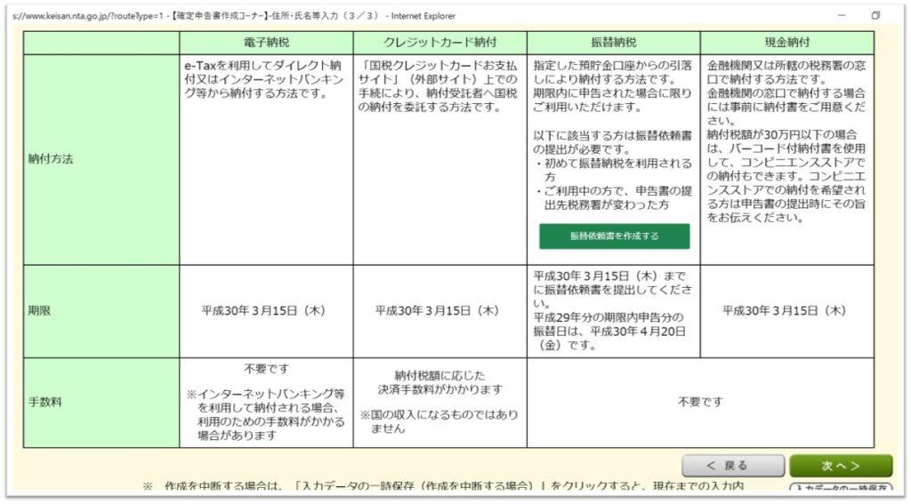 【確定申告書等作成コーナー】 納税方法一覧