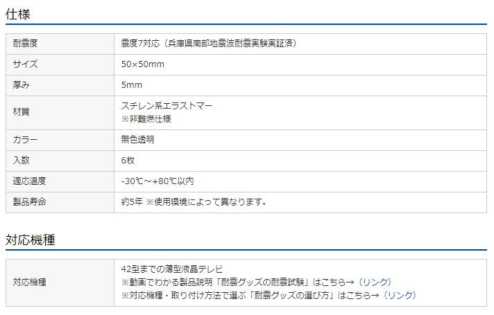 サンワサプライ 耐震透明ゴム 仕様表