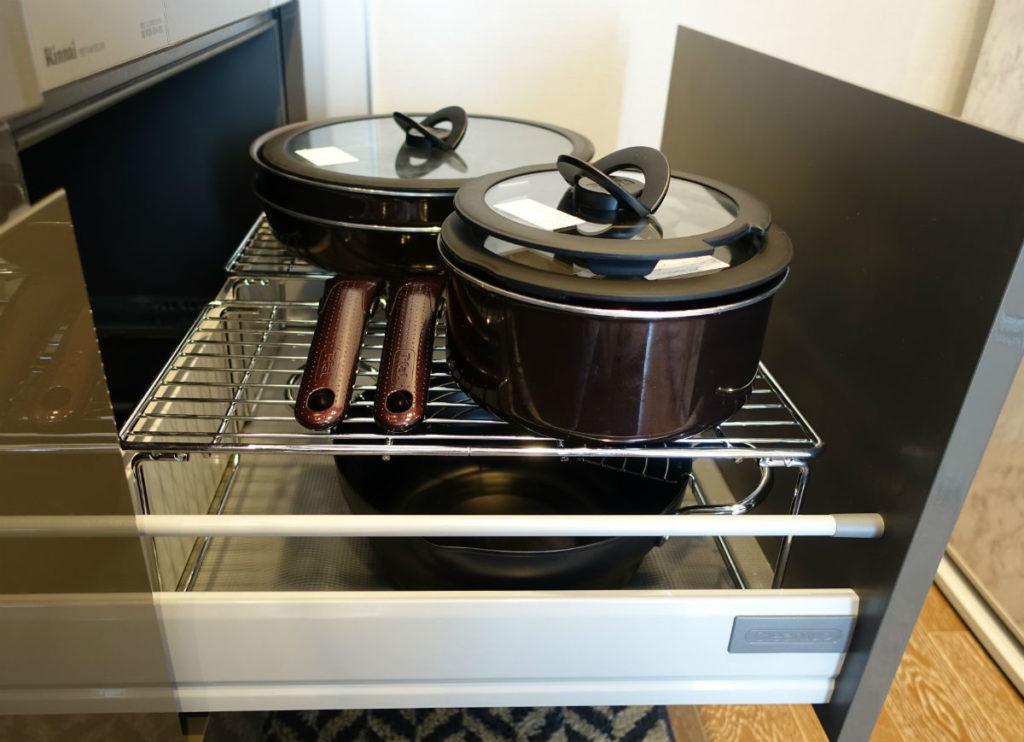 パール金属 積み重ね棚 ガスコンロ下 鍋類格納