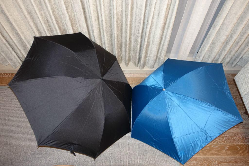 Water Front 55cm 超軽カーボン三つ折り傘 2つ折と比較 開いたところ