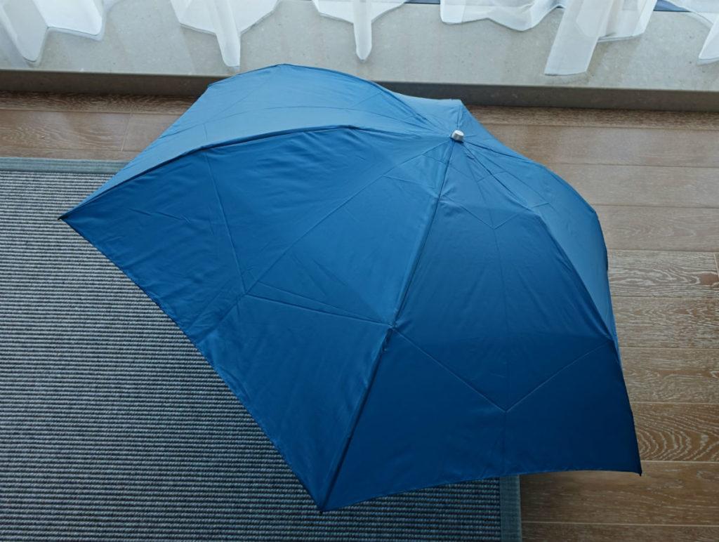 Water Front 55cm 超軽カーボン三つ折り傘 開いたところ