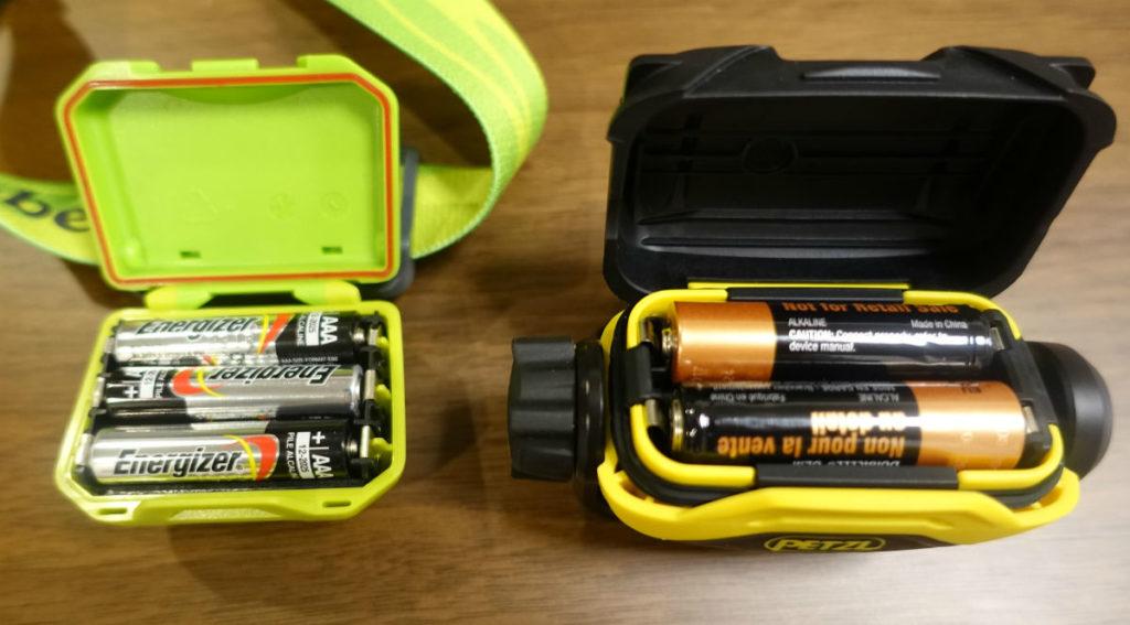 Petzl PIXA2 モンベル パワーヘッドランプとの比較 電池ボックスパッキン 防水性に違い