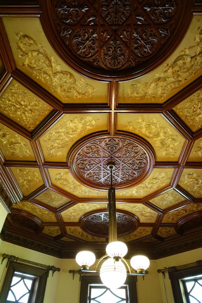 旧岩崎庭園 洋館1F 夫人客室天井刺繍
