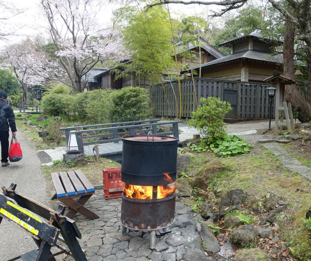 八幡野温泉 きらの里 焼き芋用のドラム缶