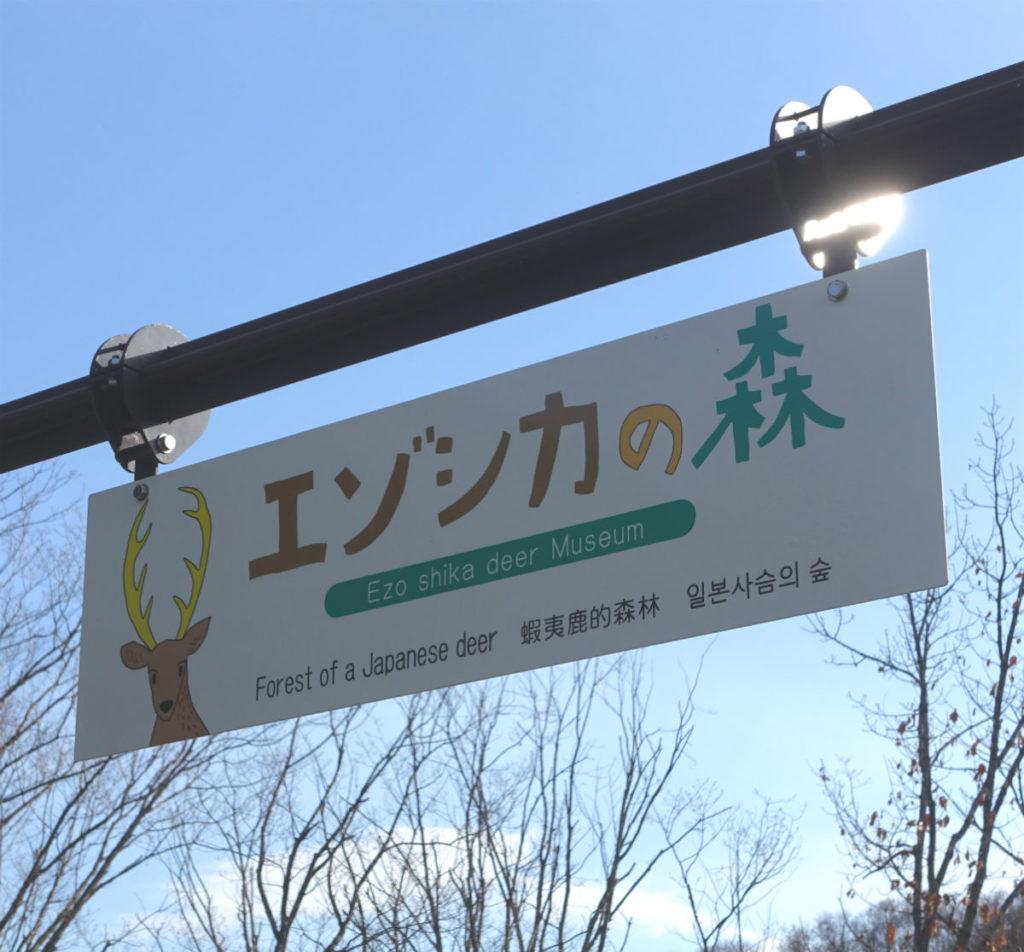 北海道旭山動物園 エゾシカの森看板