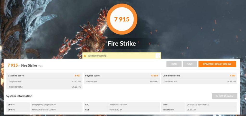 Fire strike inspiron 15 7000 7590 結構いい