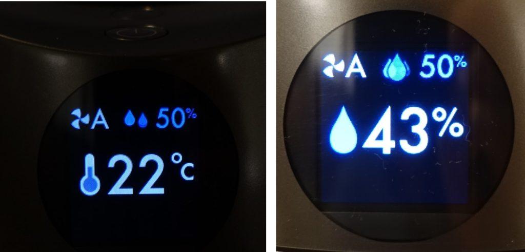 HP01 pure humidity+cool ディスプレイ表示例 温度と湿度