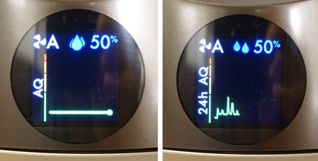 HP01 pure humidity+cool ディスプレイ表示例 空気質 直近8秒と24時間