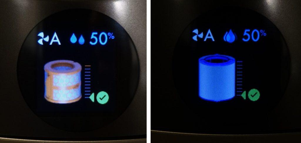 HP01 pure humidity+cool ディスプレイ表示例 各種フィルターお手入れ時期の案内