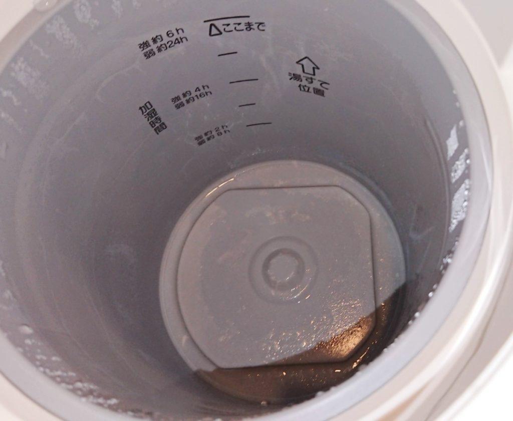 象印スチーム式加湿器 EE-RQ50 一か月使用後の汚れ
