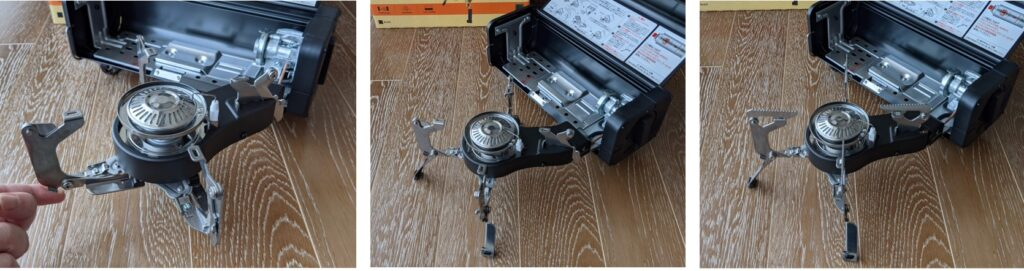 FORE WINDS FOLDING CAMP STOVE バーナー部の足の展開